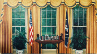 Hand painted President Clinton Oval Office mural