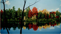 Hand painted Autumn Lake Scene mural