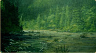 Hand painted Mountain Stream & Valley mural